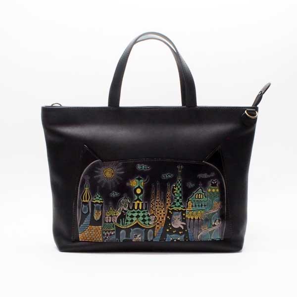 手染め2WAYトートバッグ&ショルダーバッグ(中)猫とビル|Craft ema クラフトエマ| 猫グッズ 猫雑貨 猫 ねこ ネコ|高級 革 バッグ|