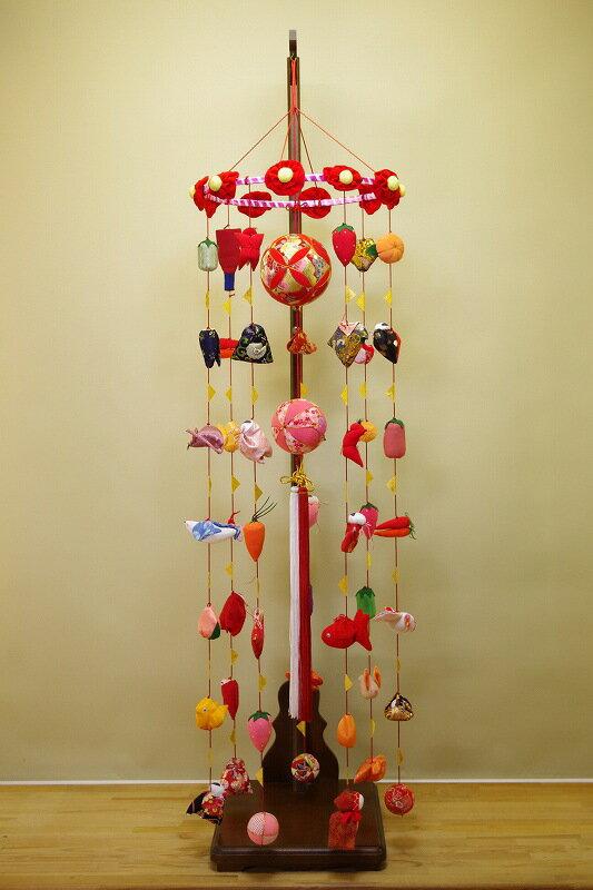 さげもん型つるし雛台付 まり飾り(大) 49細工さげ二連毬つるし飾り 雛人形さげ飾り