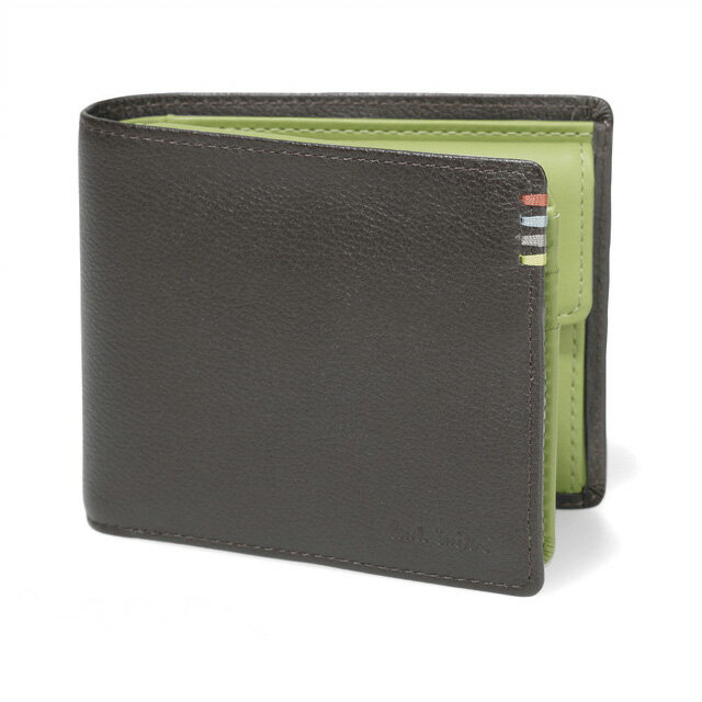 ポールスミス 財布 二つ折り財布 小銭入れ 人気 牛革 ブランド メンズ 男性 紳士 PaulSmith さいふ サイフ コントラストインサイド ダークブラウン グリーン