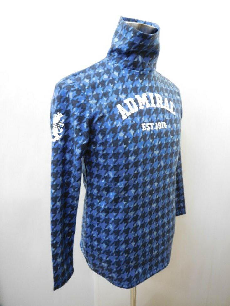 ゴルフウェア 秋冬 メンズウエア アドミラル 千鳥カモミックス タートルネックシャツ ADMA7P9(30)M:AWM405 L:AWM406 LL:AWM407