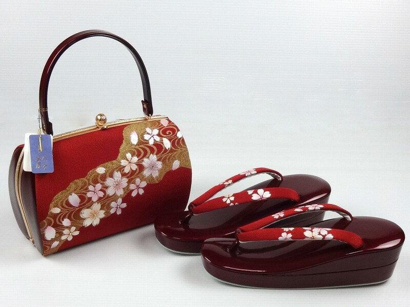 あす楽対応【送料無料】 フォーマル用 高級草履・バッグ 2点セット 桜/縮緬表面/赤色 草履エナメル素材