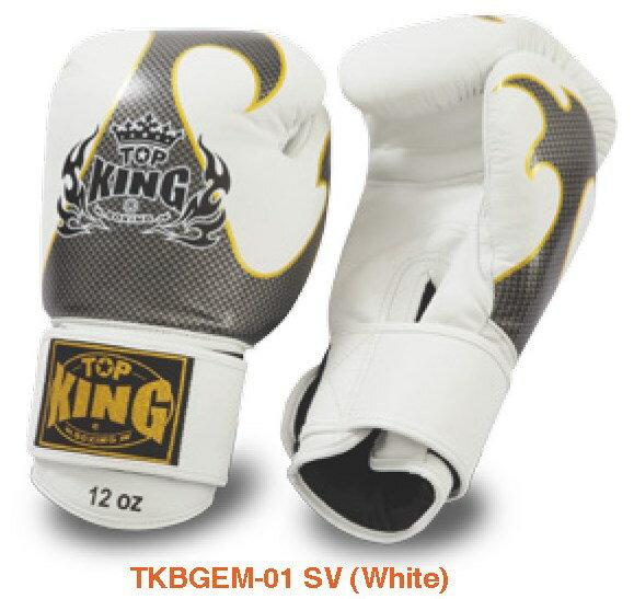 トップキング TOP KING キックボクシンググローブ タトゥ 銀白 12オンス