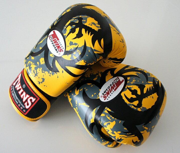 新 TWINS ツインズ 本革製キックボクシング グローブ ドラゴン2 黄 10オンス