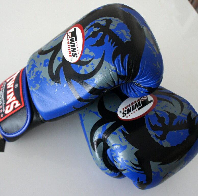 新 TWINS ツインズ 本革製キックボクシング グローブ ドラゴン2 青 16オンス