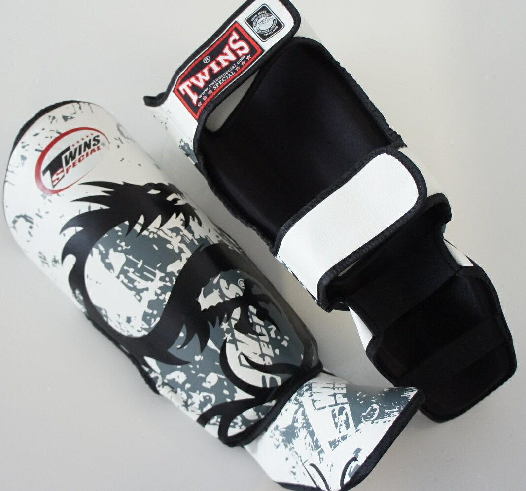 新 TWINS ツインズ 本革製キックボクシング レガース レッグガード ドラゴン2 白 Lサイズ