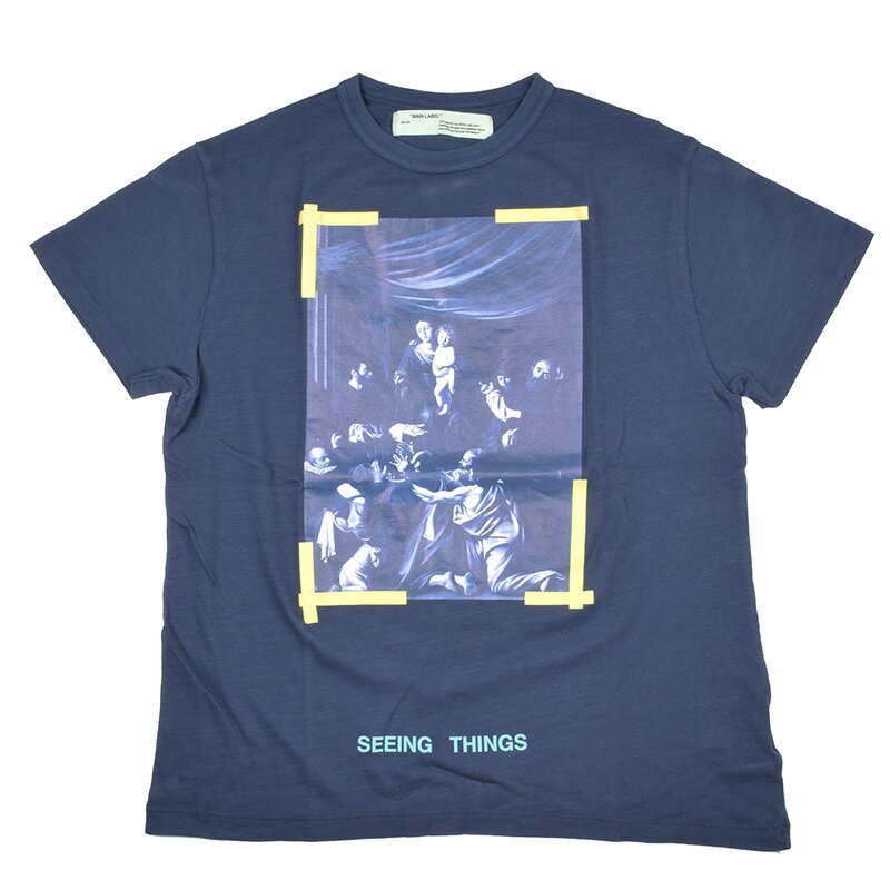 OFF-WHITE  オフホワイト CARAVAGGIO ブルー半袖Tシャツ OMAA002F170010153201 イタリア正規品