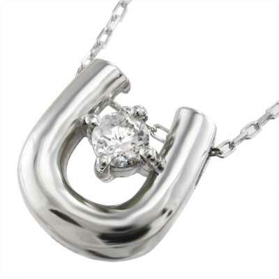 【送料無料】【楽ギフ_包装】馬蹄デザイン チェーンペンダント 一粒 天然ダイヤモンド プラチナ900
