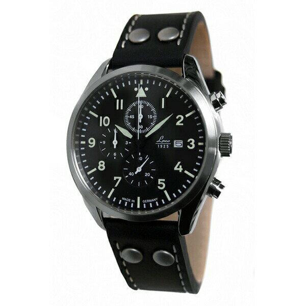 ラコ Laco 861915 腕時計 Trier トリーア クロノグラフシリーズ クオーツ ブラック×シルバー メンズ正規輸入品 【長期保証5年付】