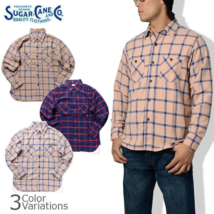 価格は安く SUGAR CANE & Co.(シュガーケーン) SLUB TWILL WINDOWPANE WORK SHIRT スラブツイルウインドペン ワークシャツ SC26735