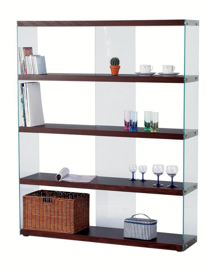 ブラウン茶色122cm幅のワイドガラスシェルフ・ブックシェルフ本棚ハイタイプ