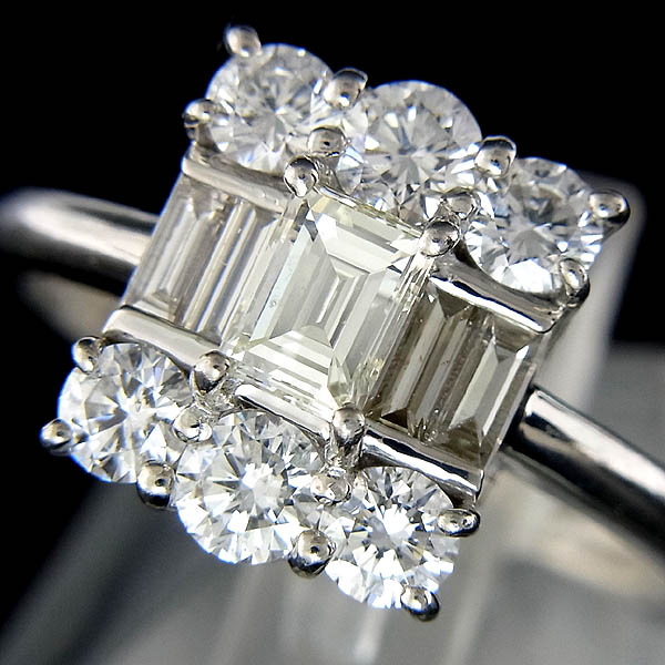 ★Pt900 ダイヤ 指輪 ファッションリングD:1.00ct,0.315ct/5.9g/13号【中古】
