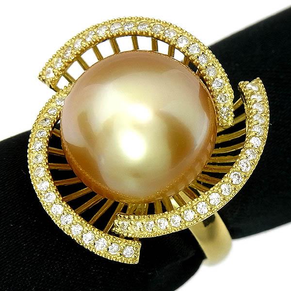 ★ゴールデン パールリング K18 南洋真珠指輪14.4mm/D:0.36ct/11.6g/13号【中古】