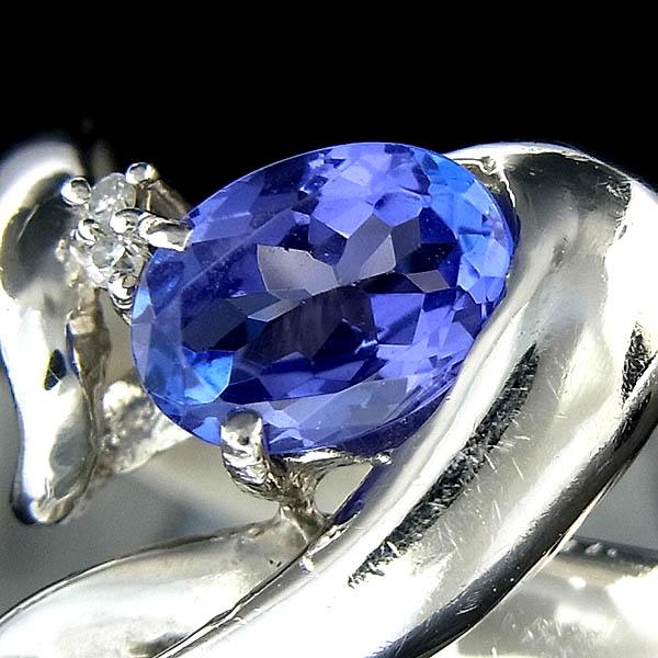 ★【Pt900指輪】タンザナイト指輪TN0.840ct/D:0.01ct/5.0g/13.5号【中古】送料無料
