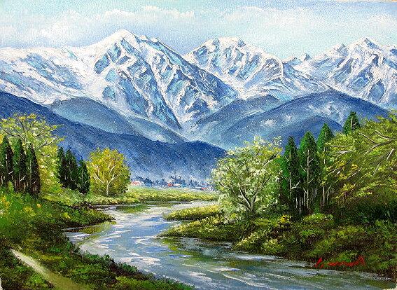 油絵 肉筆絵画 F4サイズ 「白馬岳」 丹羽 勇 木枠付 -新品