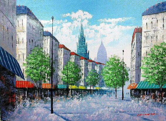 油絵 肉筆絵画 P12サイズ 「パリの街角」 広瀬 和之 木枠付 -新品