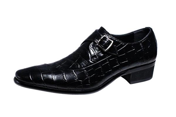 トラサルディメンズシューズTRU TRUSSARDIクロコダイル型押し牛革使用モンクストラップ紳士靴10273ブラック