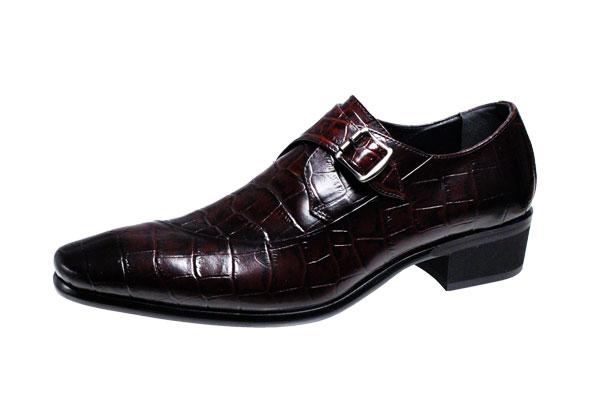 トラサルディメンズシューズTRU TRUSSARDIクロコダイル型押し牛革使用モンクストラップ紳士靴10273ブラウン