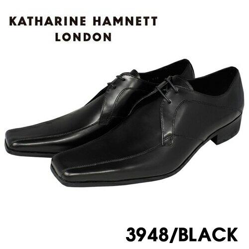 【KATHARINE HAMNETT3948】【ポイント10倍】【送料無料】キャサリンハムネット 本革紐流れビジネスシューズ紳士靴 ブラック