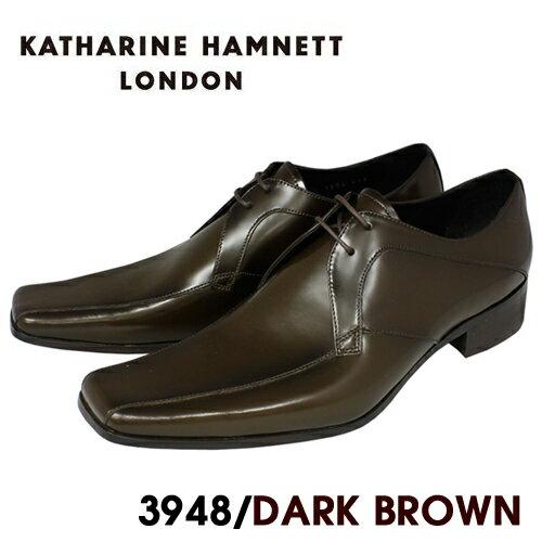 【KATHARINE HAMNETT3948】【ポイント10倍】【送料無料】キャサリンハムネット 本革紐流れビジネスシューズ紳士靴 ダークブラウン