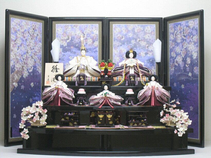 桐箱付◇ひな人形◇新品◇雛人形三段5人飾り23H(桐箱入り)◇雛人形販売