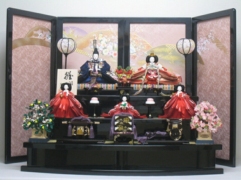 桐箱付◇ひな人形◇新品◇雛人形三段5人飾り22H(桐箱入り)◇雛人形販売