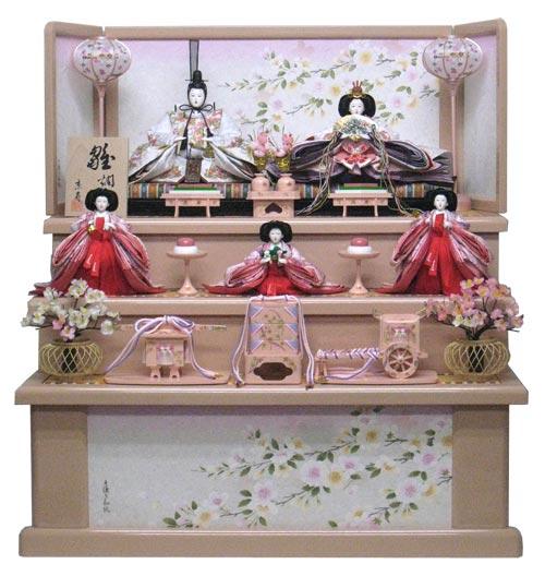 ◇新品◇雛人形三段5人飾り0553Hピンク(桐箱入り)◇ひな人形販売