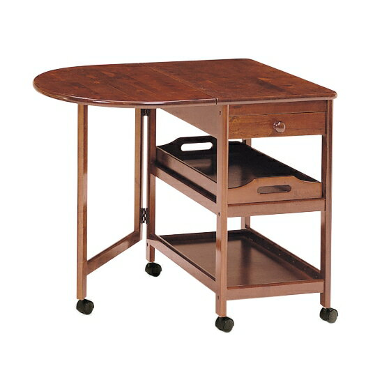 弘益 木製テーブル付ワゴンキャスター付 KW-415