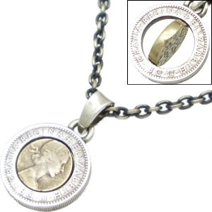 ブラスコンビ6ペンスコイン シルバーペンダントトップ*AQUA SILVER(アクアシルバー)