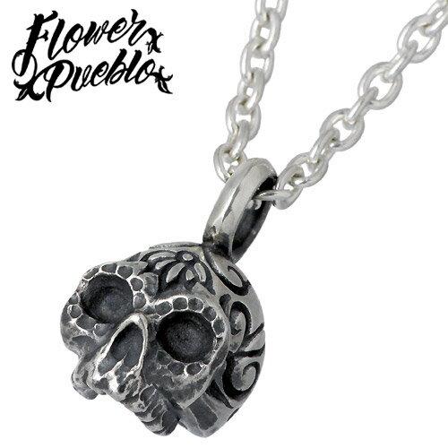 Flower Pueblo【フラワープエブロ】 魔術師スカル シルバー ネックレス チェーン付き シルバーアクセサリー シルバー925 fp-103CL60