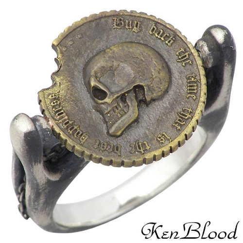 KEN BLOOD【ケンブラッド】 オナー シルバー リング ブラス スカル コイン 指輪 9~19号 シルバーアクセサリー シルバー925 KR-236AtSV-AtGD