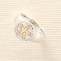 リング シルバー&K18 お花のリング
