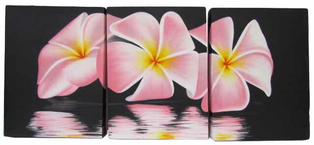 【送料無料】水辺のフランジパニピンク3枚SETデザインB【バリ・アジアン雑貨バリパラダイス】