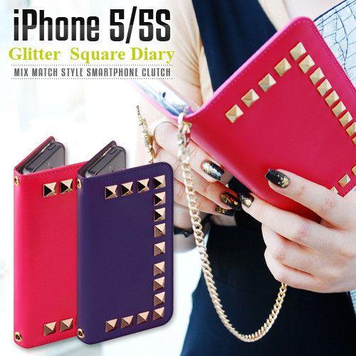 スマホケース スマートフォンケース iPhone5/5sケース GAZE グリッタースクエア ダイアリー 天然牛革 スタッズ プレゼント