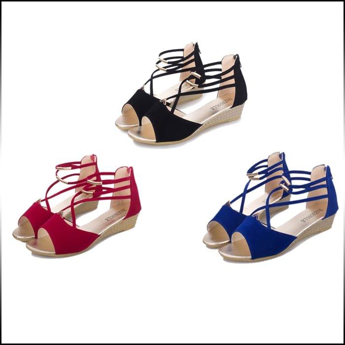 サイズ?カラー選べる 2点セット サンダル レディース ローヒール ウェッジ オープントゥ ストラップ クロス きれい目 カジュアル 無地 エレガント 靴