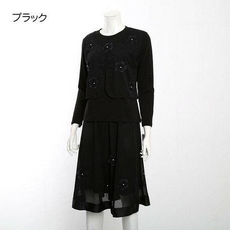 期間限定 スカートスーツ レディース スーツ ミセス メッシュ 重ね モチーフ使い カットスーツ レディースファッション ※fu