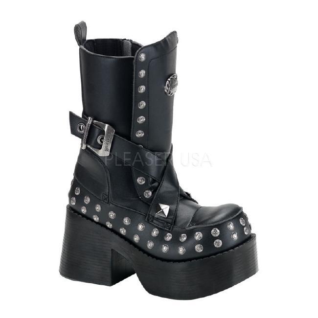 PLATOON-205 3.5インチ(約9cm) ヒール ベガン ブーツ/Pleaserプリーザー DEMONIAデモニア ゴスロリ パンク ロック 靴 大きいサイズ