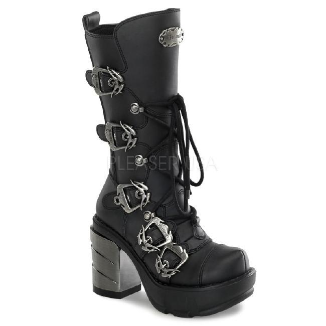 SINISTER-203 3.5インチ(約9cm) ヒール バックルストラップ レースアップ ブーツ/Pleaserプリーザー DEMONIAデモニア ゴスロリ パンク ロック 靴 大きいサイズ