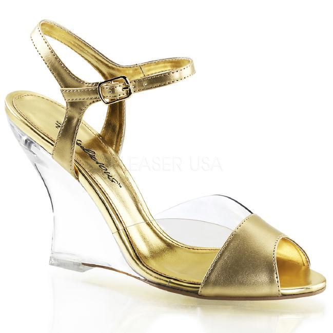 LOVELY-442 4インチ(約10cm) ウェッジ ヒール  クリア 厚底サンダル /Pleaserプリーザー パーティー 靴 大きいサイズ