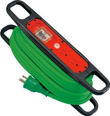日動 ハンドリール 100V 3芯×10m 緑 アース過負荷漏電しゃ断器付 【1台】【HREK102G】(コードリール・延長コード/延長コード)