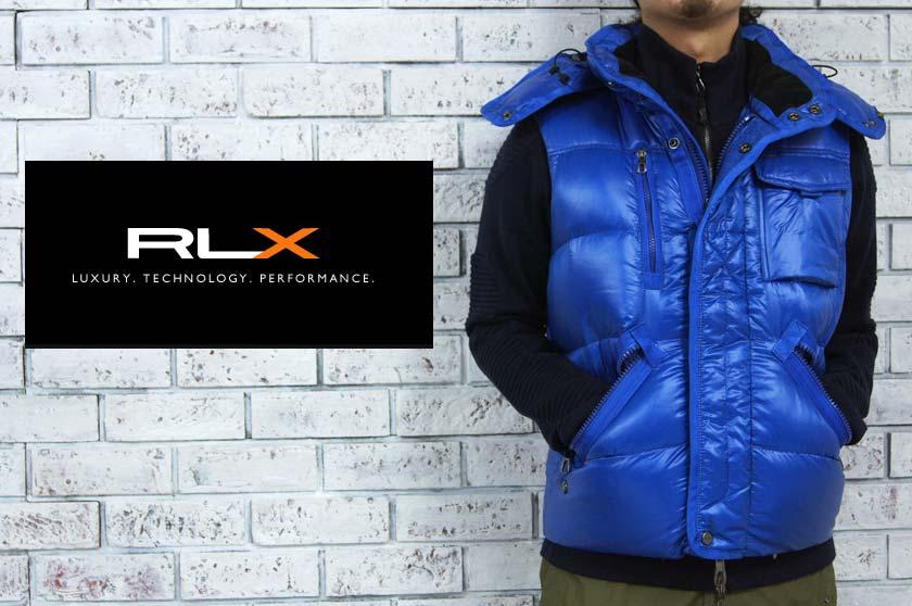 RLX  ラルフローレン RLX WATER REPELLENT フード付き ダウン ベスト/BLUE  あす楽