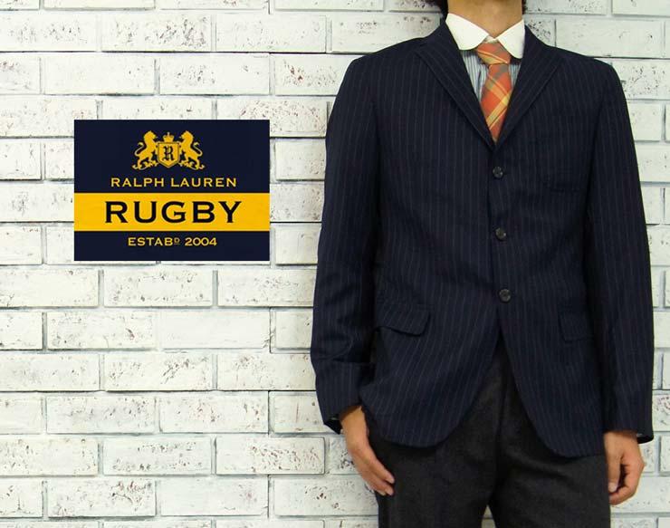 RUGBY by Ralph Lauren  ラルフローレン ラグビー イタリア製 ストライプ ウール テーラード ジャケット