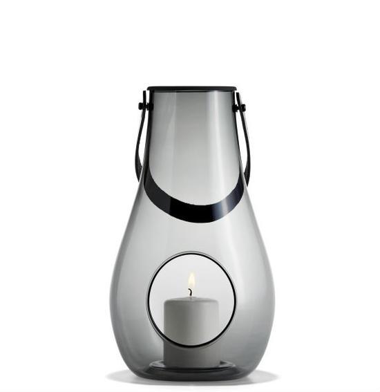 ランタン テーブルランプHOLMEGAARD ホルムガードDESIGN WITH LIGHT Lantern ランタン スモーク (L) H29cm キャンドルホルダー 4343536 吹きガラスステンレス蓋付き ローゼンダール 北欧 ギフト