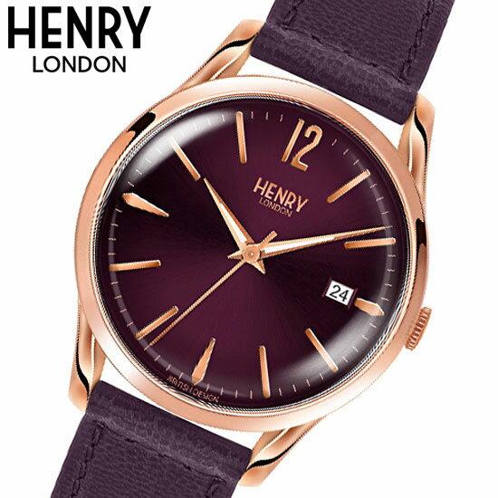 【ヘンリーロンドン】HENRY LONDON 腕時計 39mm 男女兼用 ユニセックス メンズ/レディース 牛革ベルト パープル x ローズゴールド ヘンリーロンドン HENRY LONDON ハムステッド Hampstead HL39-S-0080