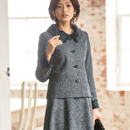 ツイード調素材シャギー使いスーツ(7AR~17AR) ベルーナ 40代 50代 60代 レディース ミセス ファッション