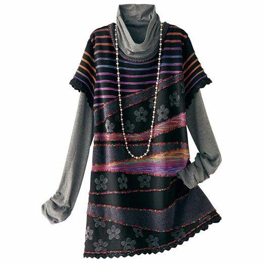 かすりモール使い切替ニットベスト(3L~5L) ベルーナ 40代 50代 60代 レディース ミセス ファッション