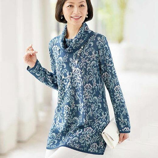 幾何柄ジャカードセーター(3L~5L) ベルーナ 40代 50代 60代 レディース ミセス ファッション