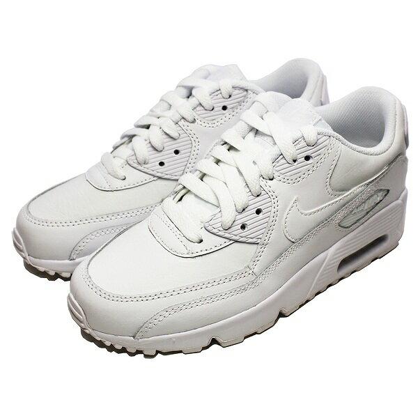 【500円offクーポン 12/27 9:59まで】 【送料無料】 ナイキ エア マックス 90 レザー GS (子供用) [サイズ:25cm(US7Y)] [カラー:ホワイト×ホワイト] #833412-100 【ナイキ: 靴 レディース靴 スニーカー】【NIKE NIKE AIR MAX 90 LTR (GS) WHITE/WHITE】