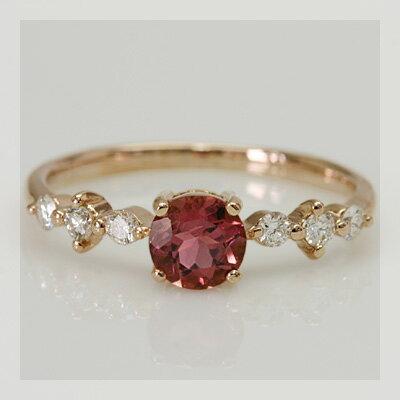 【新入荷•数量限定】 濃いピンクトルマリンxダイヤモンド「グレース」リング