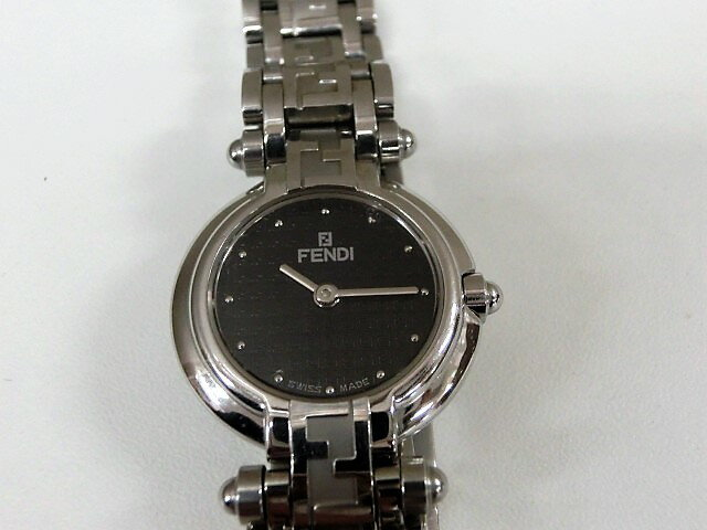 フェンディ 750L レディース 腕時計 クォーツ SS ブラック文字盤 電池交換済み☆FENDI☆【中古】 bt901