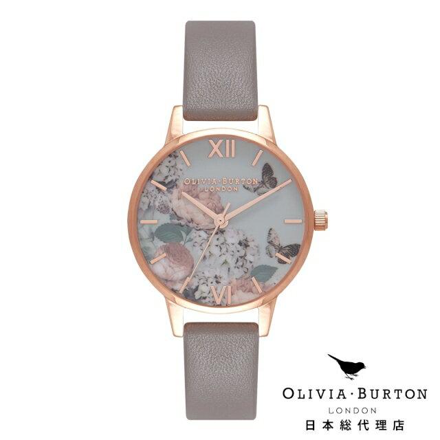 オリビアバートン レディース 腕時計 Olivia Burton エンチャントガーデン  ロンドングレー & ローズゴールド 花柄 フラワー オリビアバートン日本正規総代理店
